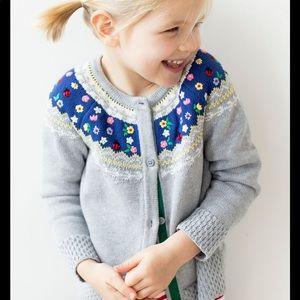 Hanna Andersson Embroidered fair Isle Cardigan